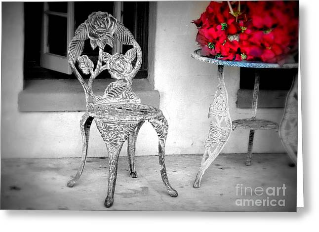 Dinner For One Greeting Card by J Tavarone
