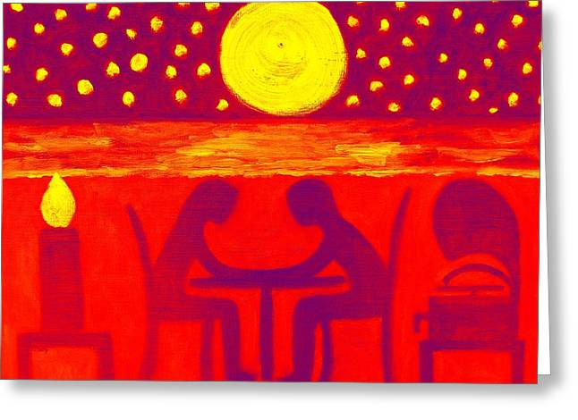 Moon Beach Mixed Media Greeting Cards - Dinner For Two 1 Greeting Card by Patrick J Murphy