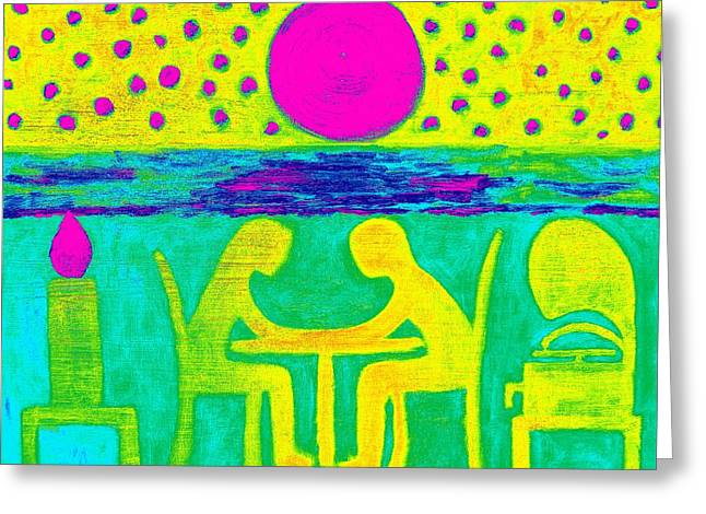 Moon Beach Mixed Media Greeting Cards - Dinner For Two 2 Greeting Card by Patrick J Murphy