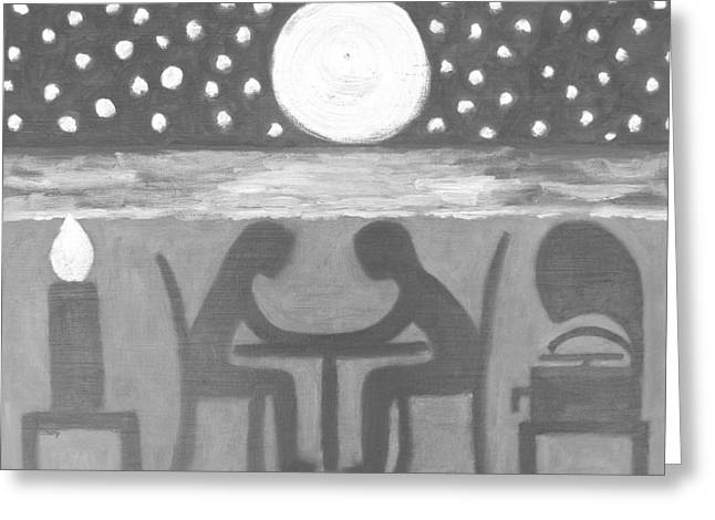 Moon Beach Mixed Media Greeting Cards - Dinner For Two 4 Greeting Card by Patrick J Murphy