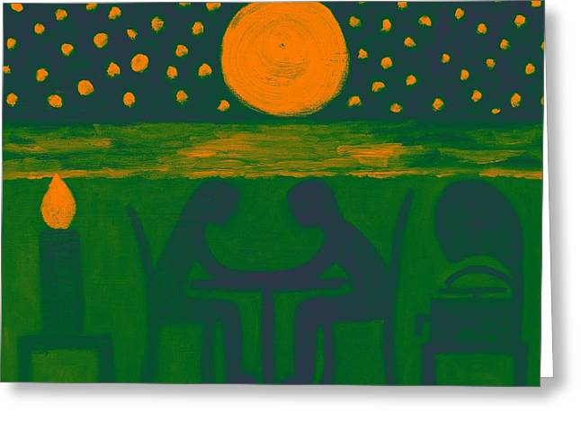 Moon Beach Mixed Media Greeting Cards - Dinner For Two 6 Greeting Card by Patrick J Murphy