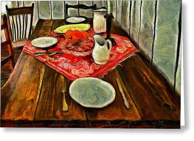 Van Gogh Style Greeting Cards - Dinner for Two  Greeting Card by L Wright