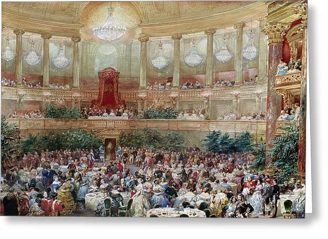Royalty Greeting Cards - Dinner in the Salle des Spectacles at Versailles Greeting Card by Eugene-Louis Lami