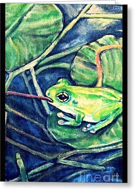 Nature Scene With Frog Greeting Cards - Dinner on a Lily pad Greeting Card by Kimberlee  Baxter