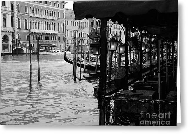 European Restaurant Greeting Cards - Dinner On The Grand Canal Greeting Card by Mel Steinhauer