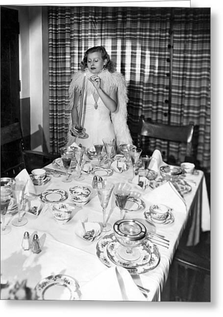 State Dinners Greeting Cards - Dinner Party Table Setting Greeting Card by Underwood Archives