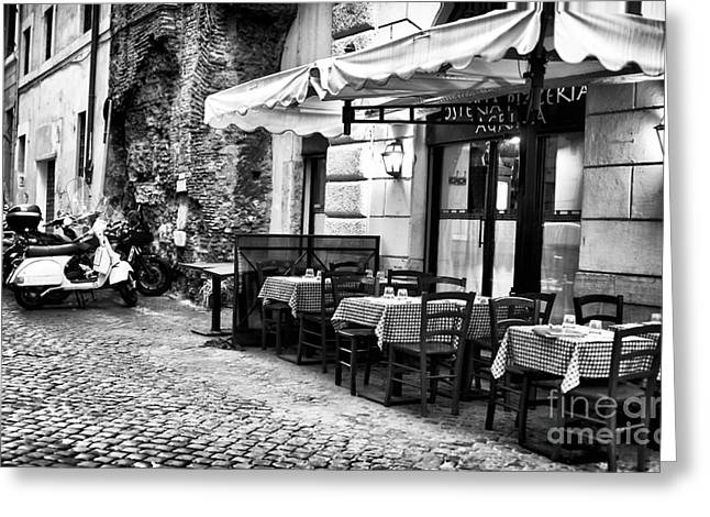Gallery Wrapped Greeting Cards - Dinner Scene in Rome Greeting Card by John Rizzuto