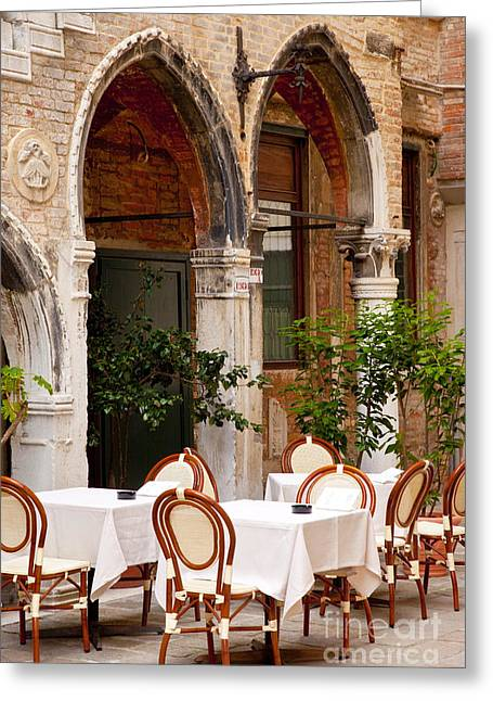 European Restaurant Greeting Cards - Dinner Tables in Venice Greeting Card by Brian Jannsen