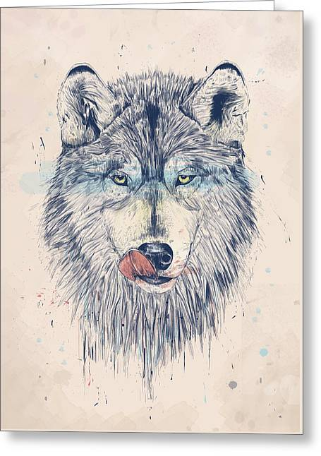 Wolf Portrait Greeting Cards - Dinner time Greeting Card by Balazs Solti