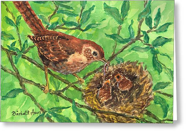 Baby Bird Paintings Greeting Cards - Dinner Time Greeting Card by Barbel Amos