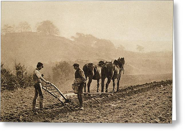 Equestrian Prints Photographs Greeting Cards - Dinner Time Greeting Card by Frank Meadow Sutcliffe