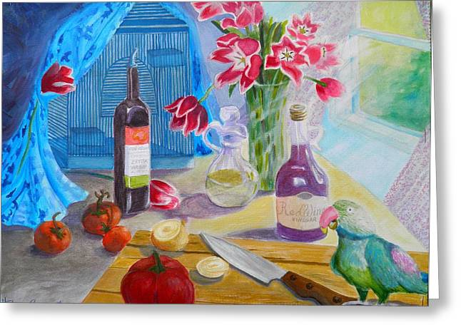 Red Wine Prints Greeting Cards - Dinner-time with Louigi Greeting Card by Sharon Casavant