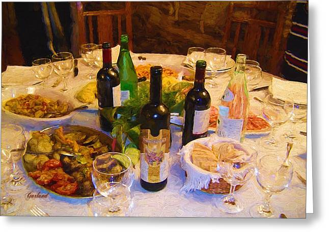 Table Wine Mixed Media Greeting Cards - Dinner With Wine Greeting Card by Garland Johnson