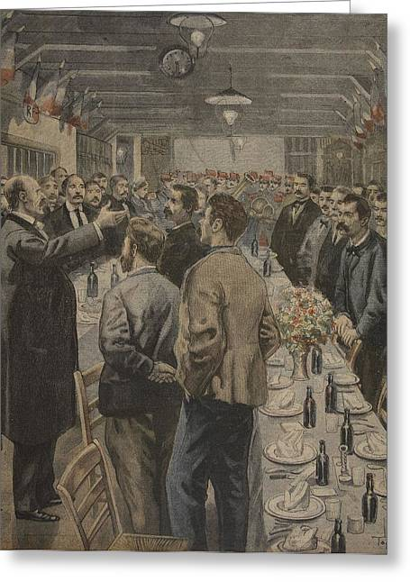 French Flag Greeting Cards - Dinners For The Workers Greeting Card by F.L. & Tofani, Oswaldo Meaulle