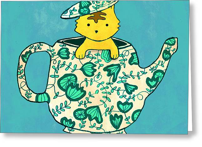 Whimsical. Greeting Cards - Dinnerware sets kitten in a teapot Greeting Card by Budi Kwan