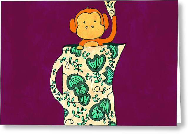 Monkeys Greeting Cards - Dinnerware sets monkey in a jug Greeting Card by Budi Kwan