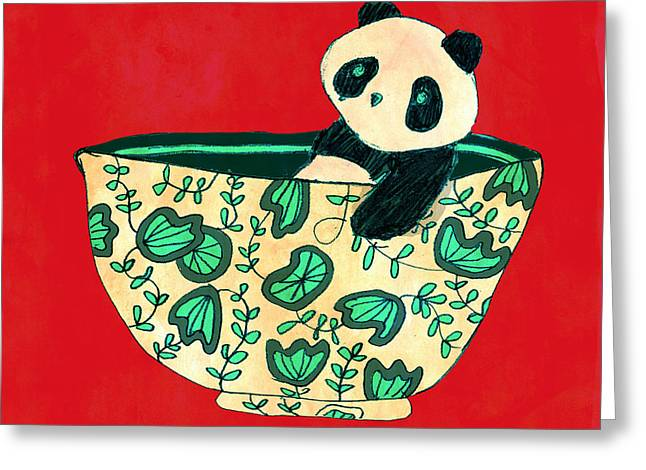 Drawn Greeting Cards - Dinnerware sets Panda in a bowl Greeting Card by Budi Satria Kwan