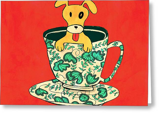Dinnerware sets puppy in a teacup Greeting Card by Budi Kwan
