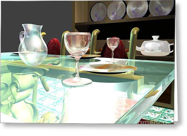 Water Jars Greeting Cards - Dinning table Greeting Card by Artist Nandika  Dutt