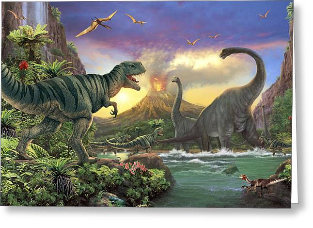 Eruption Greeting Cards - Dino Attack Variant 1 Greeting Card by Steve Read