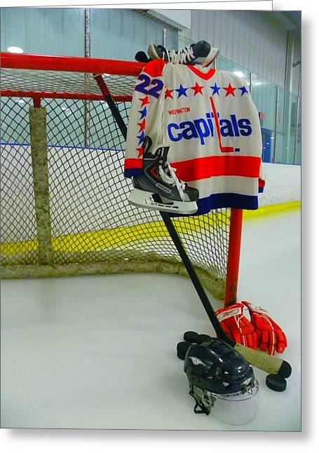 Glove Greeting Cards - Dino Ciccarelli Washington Capitals Vintage Home Hockey Jersey Greeting Card by Lisa Wooten