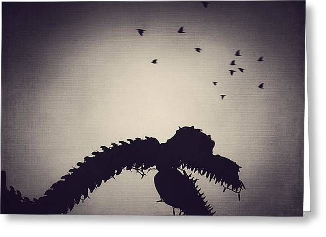 Metal Sculpture Greeting Cards - Dino in the City Greeting Card by Trish Mistric