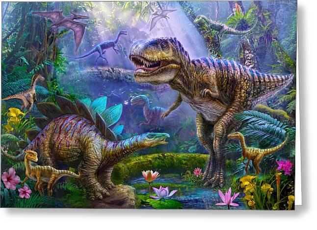 Dinosaurs Greeting Cards - Dino Jungle Greeting Card by Jan Patrik Krasny