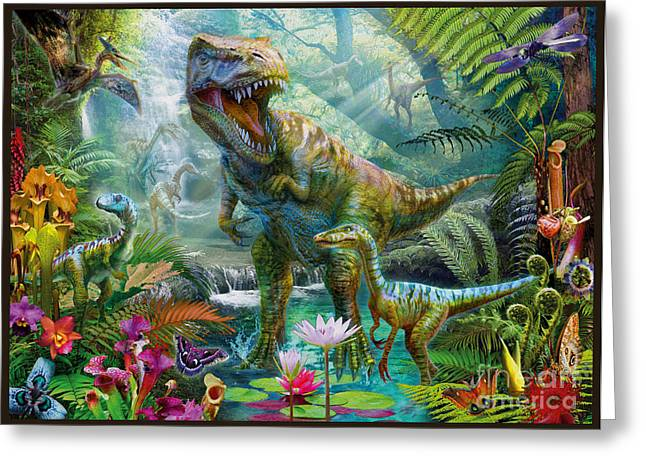T-rex Greeting Cards - Dino Jungle Scene Greeting Card by Jan Patrik Krasny