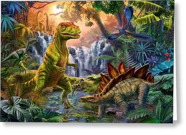 Dinosaurs Greeting Cards - Dino Waterfall Greeting Card by Jan Patrik Krasny