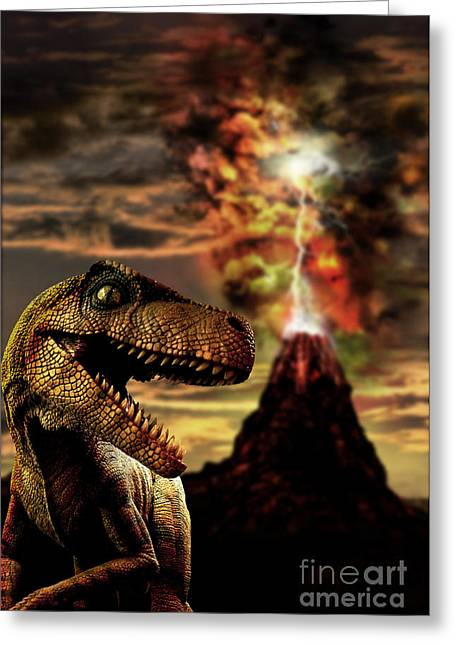 Computer Generated Art Greeting Cards - Dinosaur And Volcano Greeting Card by Mike Agliolo
