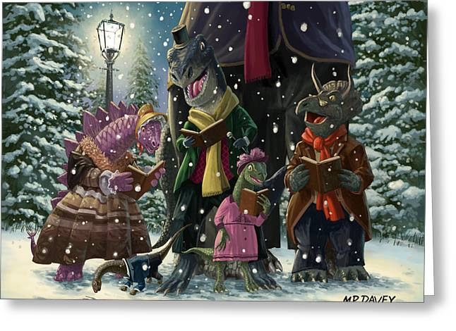 Best Sellers -  - Snowy Night Greeting Cards - Dinosaur Carol Singers Greeting Card by Martin Davey