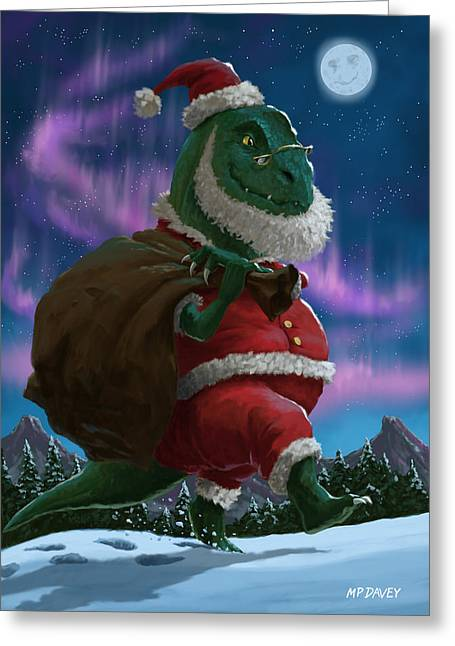 Dinosaur Christmas Santa Out In The Snow Greeting Card by Martin Davey