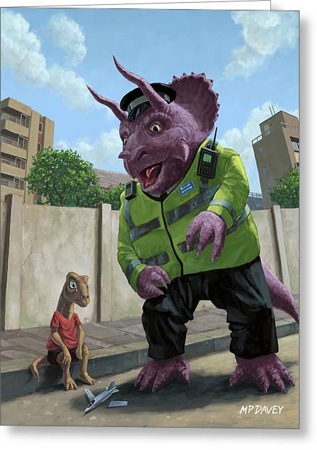 Police Art Greeting Cards - Dinosaur Community Policeman helping youngster Greeting Card by Martin Davey