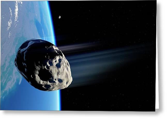 Dinosaur Extinction Asteroid Greeting Card by Detlev Van Ravenswaay