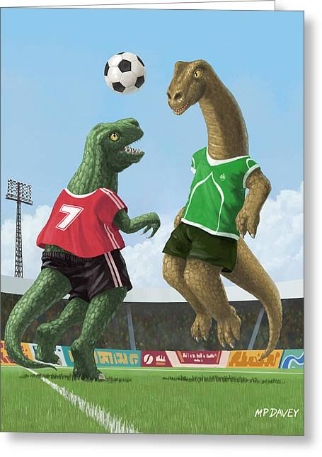 T-rex Greeting Cards - Dinosaur Football Sport Game Greeting Card by Martin Davey