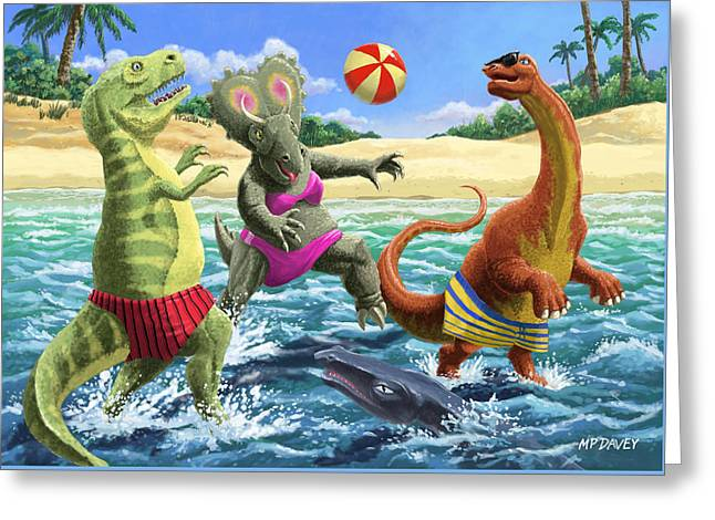 dinosaur fun playing Volleyball on a beach vacation Greeting Card by Martin Davey