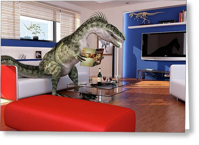 Dinosaur In A Living Room Greeting Card by Leonello Calvetti