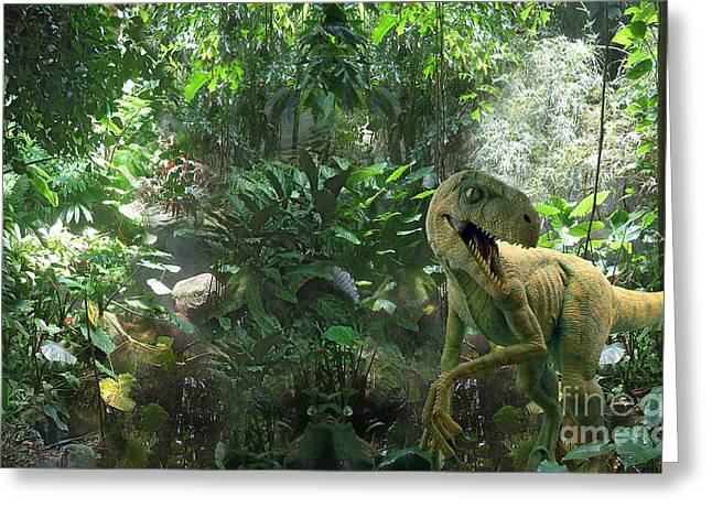 Computer Generated Art Greeting Cards - Dinosaur In Jungle Greeting Card by Mike Agliolo