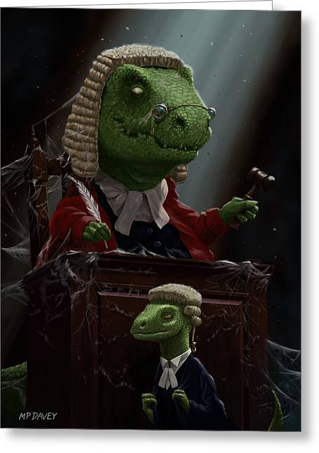 Police Cartoon Greeting Cards - Dinosaur Judge in UK Court of Law Greeting Card by Martin Davey