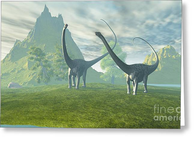 Triassic Greeting Cards - Dinosaur Land Greeting Card by Corey Ford