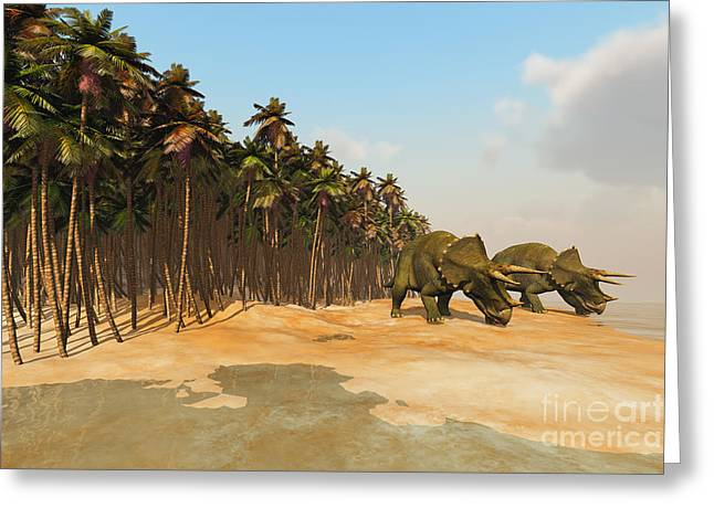 Triceratops Digital Art Greeting Cards - Dinosaur Life Greeting Card by Corey Ford
