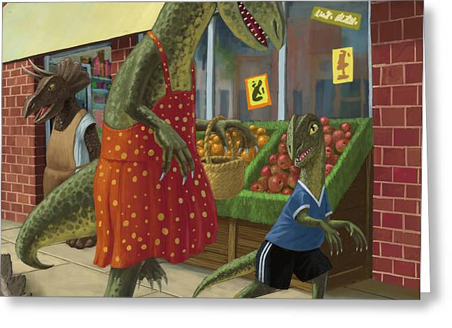 dinosaur mum out shopping with son Greeting Card by Martin Davey