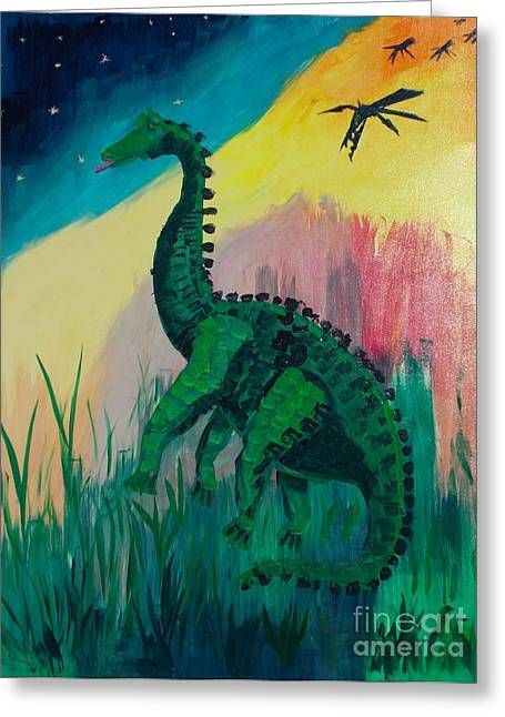 Out-of-date Greeting Cards - Dinosaur Greeting Card by PainterArtist FIN