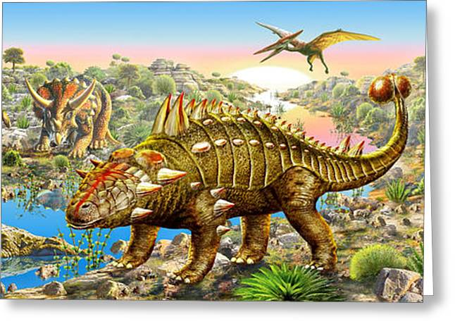 Dinosaurs Greeting Cards - Dinosaur Panorama Greeting Card by Adrian Chesterman