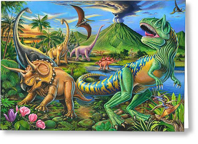 Dinosaurs Greeting Cards - Dinosaur Scene Greeting Card by Mark Gregory