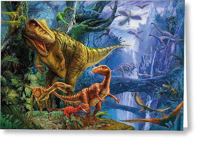 T-rex Greeting Cards - Dinosaur Valley Greeting Card by Jan Patrik Krasny