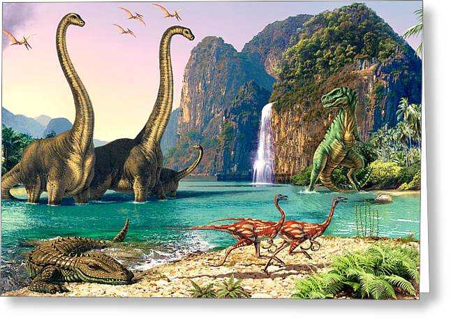 Dinosaurs Greeting Cards - Dinosaur Volcanos - Crop Left Greeting Card by Steve Read