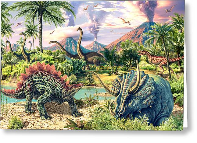 Dinosaurs Greeting Cards - Dinosaur Volcanos - Crop Right Greeting Card by Steve Read