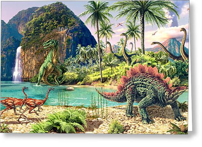 Jurassic Greeting Cards - Dinosaur Volcanos Greeting Card by Steve Read