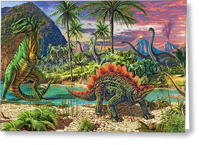 Eruption Greeting Cards - Dinosaur Volcanos Variant 4 Greeting Card by Steve Read